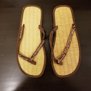 NWOT Brown Sequin Flip Flops